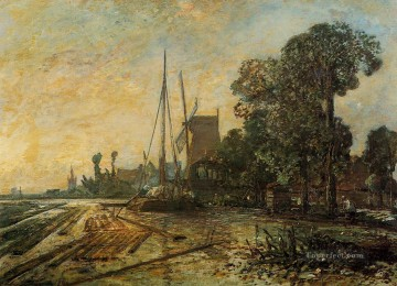 Johan Jongkind Painting - Windmill near the Water Johan Barthold Jongkind