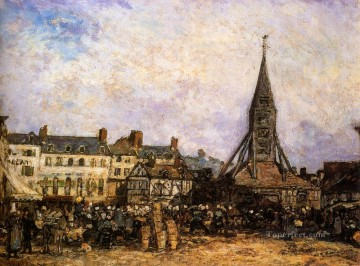 Sainte Painting - The Market At Sainte Catherine Honfleur Johan Barthold Jongkind