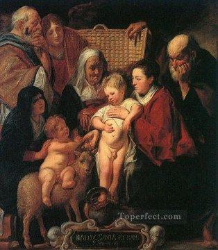 Family Painting - The Holy Family with St Anne The Young Baptist and his Parents Flemish Baroque Jacob Jordaens