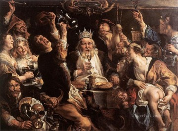 baroque Painting - The King Drinks Flemish Baroque Jacob Jordaens