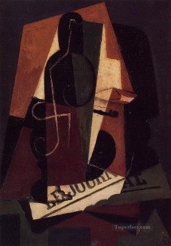 bottle and glass Juan Gris Oil Paintings