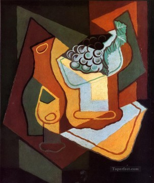 Wine Painting - bottle wine glass and fruit bowl Juan Gris