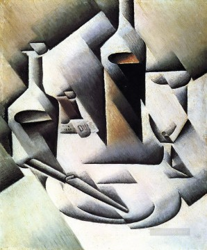 Juan Gris Painting - bottles and knife 1912 Juan Gris