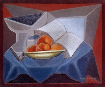 Juan Gris Painting - fruit and book Juan Gris