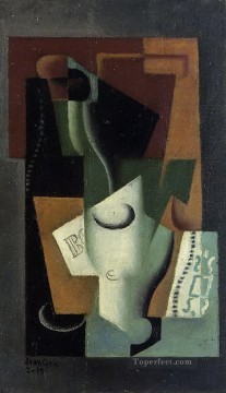 glass and bottle Juan Gris Oil Paintings