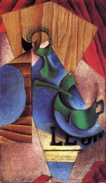 glass cup and newspaper 1913 Juan Gris Oil Paintings