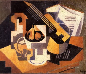 Juan Gris Painting - guitar and fruit bowl on a table 1918 Juan Gris