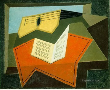 guitar and music paper 1927 Juan Gris Oil Paintings