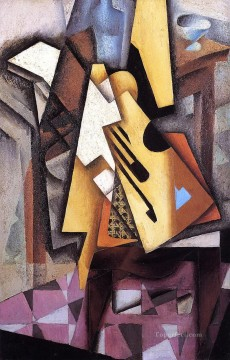 Chair Painting - guitar on a chair 1913 Juan Gris