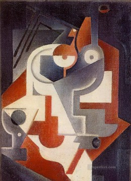1917 Canvas - newspaper glass and pear 1917 Juan Gris