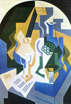 still life with fruit bowl and mandolin 1919 Juan Gris Oil Paintings