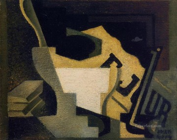 still life with newspaper 1918 Juan Gris Oil Paintings