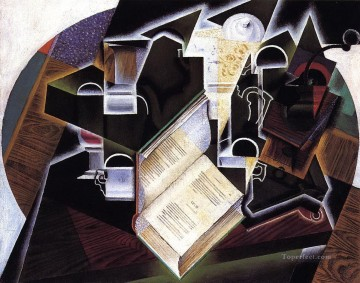 book pipe and glasses Juan Gris Oil Paintings