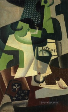 Juan Gris Painting - bottle of beaune and a fruit dish 1917 Juan Gris