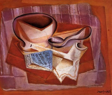 bowl book and spoon Juan Gris Oil Paintings
