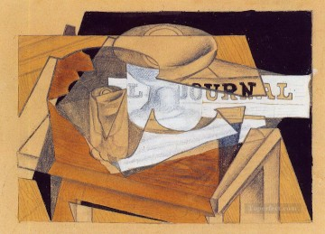 Juan Gris Painting - bowl glass and newspaper Juan Gris