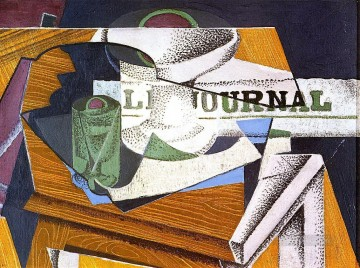fruit bowl book and newspaper Juan Gris Oil Paintings