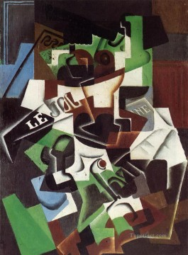 Juan Gris Painting - fruit bowl pipe and newspaper Juan Gris