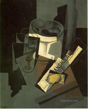 Juan Gris Painting - fruit dish glass and lemon still life with nerwspape Juan Gris