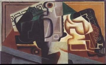 1917 Canvas - glass and carafe 1917 Juan Gris