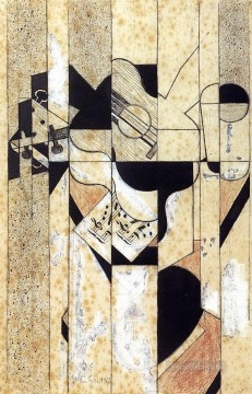 guitar and glass 1912 Juan Gris Oil Paintings