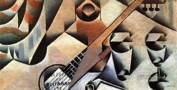 guitar and glasses banjo and glasses 1912 Juan Gris Oil Paintings