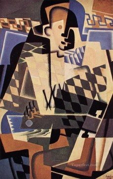 harlequin with a guitar Juan Gris Oil Paintings