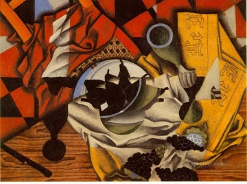 pears Oil Painting - pears and grapes on a table 1913 Juan Gris