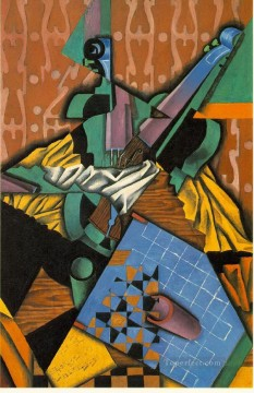 Juan Gris Painting - photograph of violin and checkerboard 1913 Juan Gris