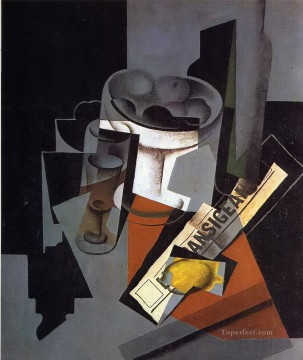 still life with newspaper 1916 1 Juan Gris Oil Paintings
