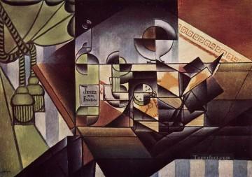 Juan Gris Painting - the watch the sherry bottle 1912 Juan Gris