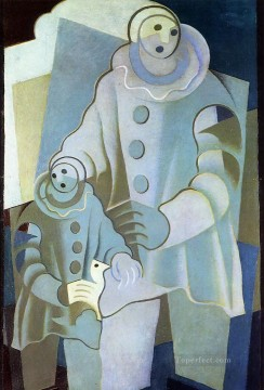 two pierrots 1922 Juan Gris Oil Paintings