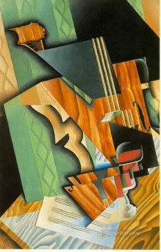 violin and glass 1915 Juan Gris Oil Paintings