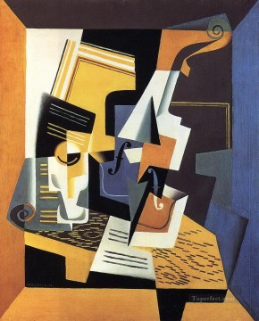 violin and glass 1918 Juan Gris Oil Paintings