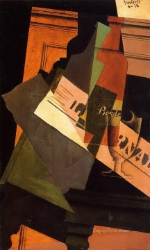 Juan Gris Painting - bottle glass and newspaper Juan Gris