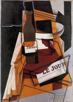 Juan Gris Painting - bottle newspaper and fruit bowl 1915 Juan Gris