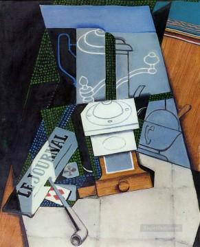 newspaper with coffee mill 1915 Juan Gris Oil Paintings