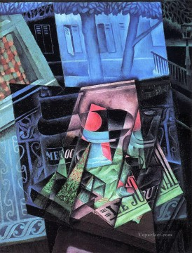 still life before an open window place ravignan 1915 Juan Gris Oil Paintings