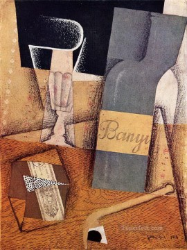 Juan Gris Painting - the bottle of banyuls 1914 1 Juan Gris