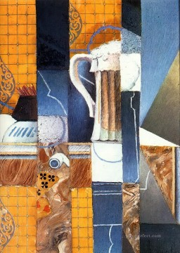 beer glass and cards Juan Gris Oil Paintings