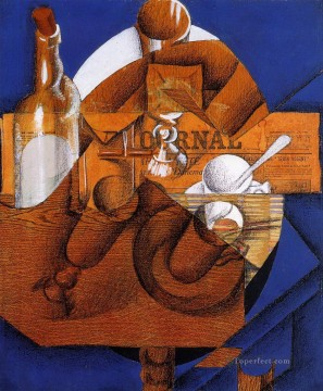 Juan Gris Painting - glass cup and bottle Juan Gris