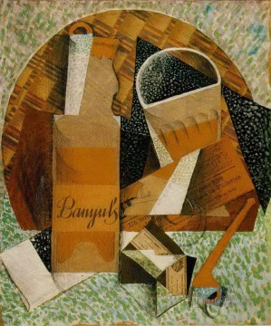 Juan Gris Painting - the bottle of banyuls 1914 Juan Gris