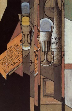 Wine Painting - glasses newspaper and bottle of wine Juan Gris