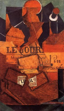 Wine Painting - tobacco newspaper and bottle of wine 1914 Juan Gris