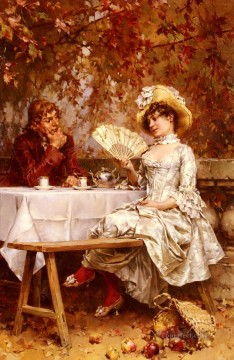garden Oil Painting - Tea In The Garden Autumn women Kaemmerer Frederik Hendrik