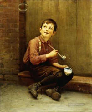 Karl Witkowski Painting - Anticipation The Bubble Blower Karl Witkowski