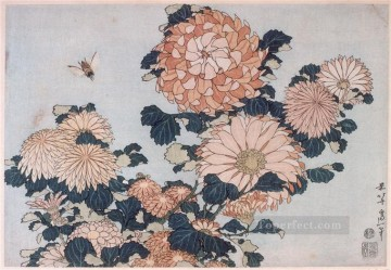 chrysanthemums and horsefly Katsushika Hokusai Ukiyoe Oil Paintings