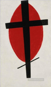 Kazimir Malevich Painting - MYSTIC SUPREMATISM BLACK CROSS ON RED OVAL Kazimir Malevich