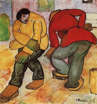 Polish Oil Painting - floor polishers 1912 Kazimir Malevich