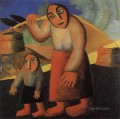 peasant woman with buckets and a child Kazimir Malevich